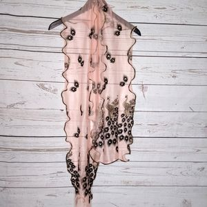 Pink and Gold Peacock Scarf